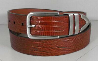 757550 ES20 Men/'s Belts Size 40 Burgundy Lizard Print Leather Johnston /& Murphy