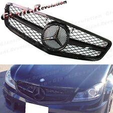 Fit 12-14 BENZ W204 Sedan 4D C300 C350 Gloss Black Tune to C63 Type Front Grille