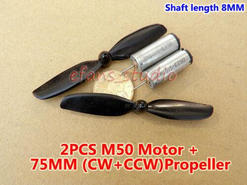 2PCS High Speed Mini M50 Motor DC 3.7V 6V 37000RPM 10MM Cylinder Motor+Propeller