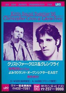 1986-Christopher-Cross-Glenn-Frey-amp-Europe-Japan-Concert-Tour-Flyer-Music-Rock