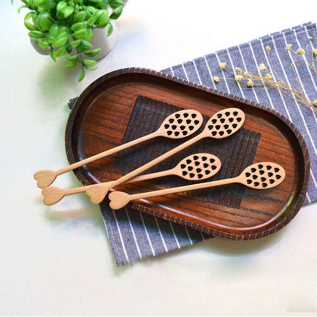 1PCS Heart Hollow Wood Honey Dipper Mixing Stick Spoon Milk Tea Coffee Spoon\\-
