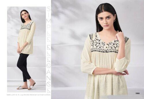 Women Fashion Indian Short Embroidered Soft Rayon Kurti Tunic Kurta Top All Size