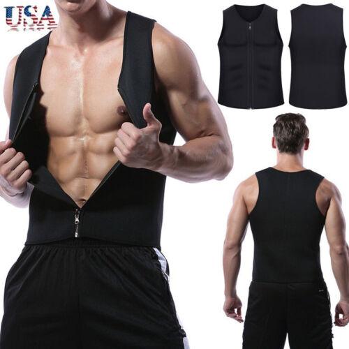Men Waist Vest For Weightloss Hot Neoprene Corset Body Shaper Zip Up Tank Top US