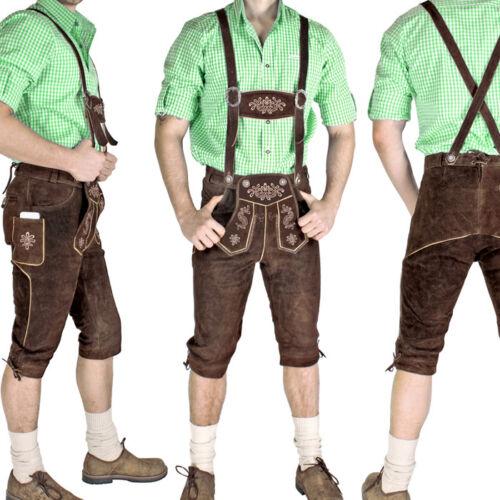 Lederhosen Knickerbockers Brown Traditional Costume Men/'s Trousers Leather Knhc1