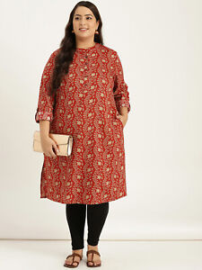 Indian Dress XXL 3XL 4XL 5XL 6XL Kurtis For Women Orange Yoke Design Straight Kurta For Women Plus Size Kurta Women Dress for Women