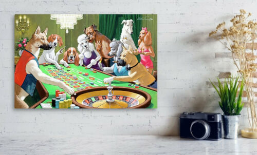 Fine Art Print Dogs Playing Roulette by Arthur Sarnoff Famous Canvas// Photo