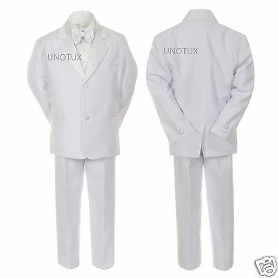 Boy Baby Toddler Kid Wedding Communion Baptism Tail Paisley White 5pc Suit 8-20