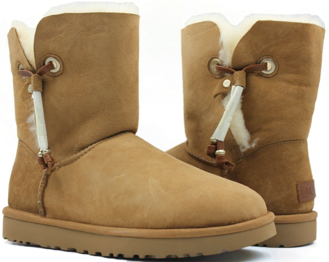 5ab39afeccd UGG Maia Chestnut Suede Shearling Drawstring Womens Short BOOTS Size US 11