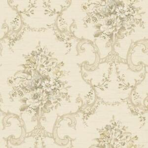 Wallpaper-Classic-Floral-Bouquet-Damask-Scroll-Olive-Green-Gold-Gray-on-Cream