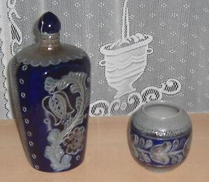 Flasche-und-Vase-Steingut-Salzglasur-REINH-MERKELBACH-blau-gebraucht