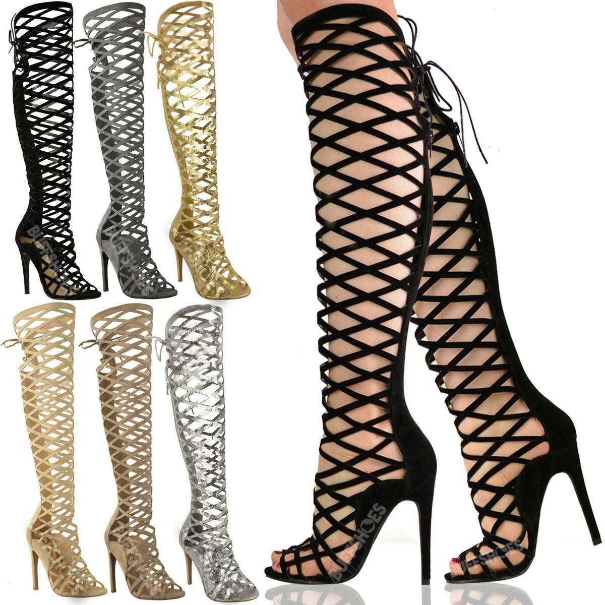 LADIES Damenschuhe CUT OUT LACE KNEE HIGH HEEL BOOTS GLADIATOR SANDALS STRAPPY SIZE
