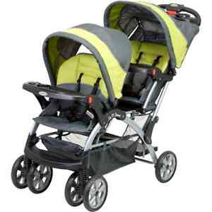 Baby Double Stroller Twin Infant Kids Carrier Car Seat Sit