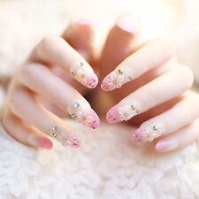 24 Pcs/Set French Bridal Wedding Flowers False Nails Acrylic Full Fake Nail Tips