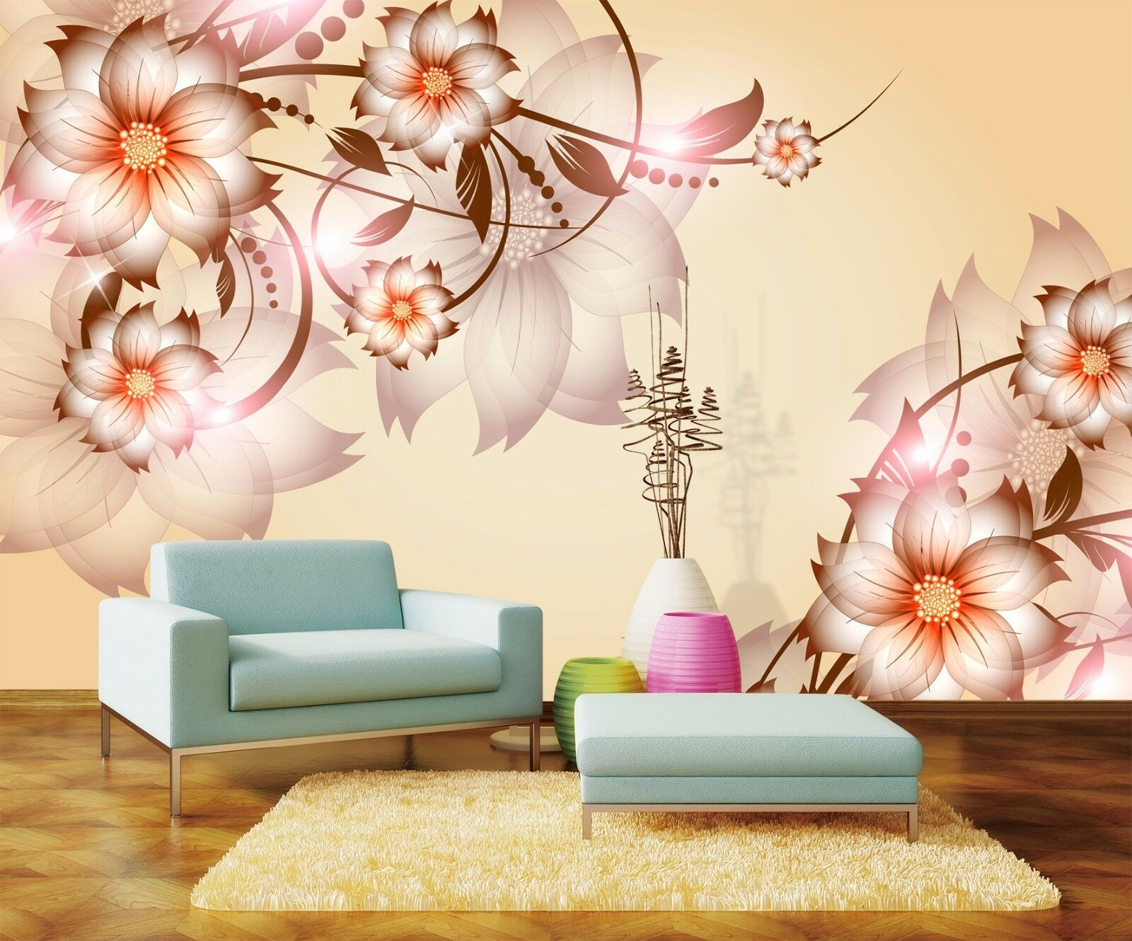 3D Elegant flowers 4388 Wall Paper Print Wall Decal Deco Indoor Wall Murals