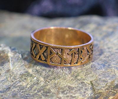 Ring BRONZE Medieval Celtic Viking Norse Futhark runes Druids