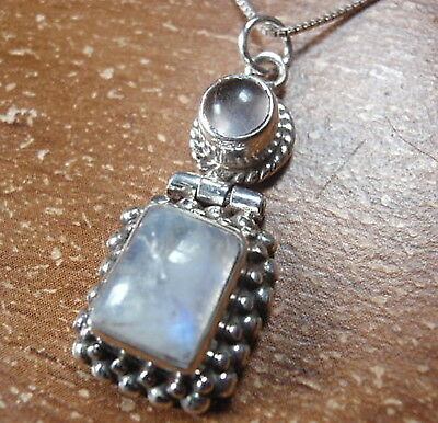 Rose Quartz Blue Moonstone Pendant 925 Sterling Silver Rope Style Accents u413t