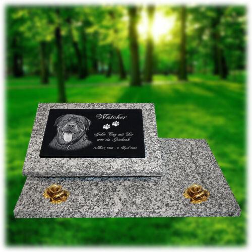 Tier Grabstein Grabplatte Grabtafel Granit 60x40 cm Foto+Text Gravur  gg46s