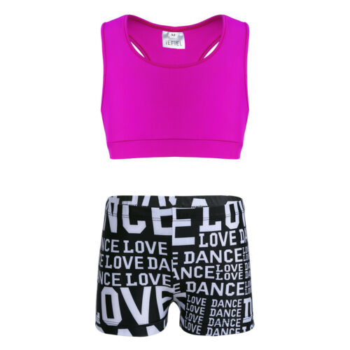 Sport Outfits Top+Booty Dance Leotard Girl Tankini Set Swimsuit Swimming Costume