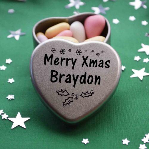 Merry Xmas Braydon Mini Heart Tin Gift Present Happy Christmas Stocking Filler