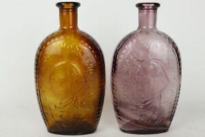 2pc Vintage Lot George Washington Eagle Amethyst + Brown Glass Decanter Bottles