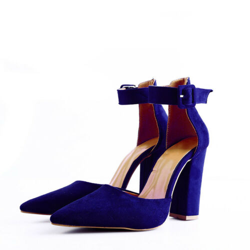 Women High Heels Ankle Strap Pointed Toe Thick Heels Pumps Shoes Party Shoes QL