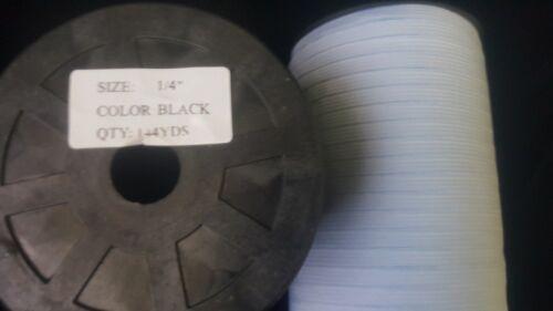 "Wholesale ROLL 144  yards Roll Braided  elastic 1//4/"" Black White"