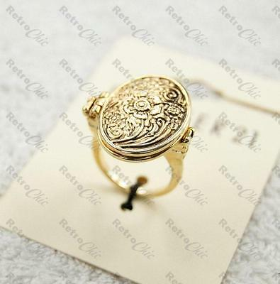 ORNATE floral BIG LOCKET RING vintage style SMALL,MEDIUM,LARGE antique gold pltd