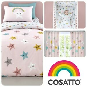 Cosatto-HAPPY-STARS-Baby-Bedroom-Set-Duvet-Cover-Grow-Bag-Fitted-Sheets-Pink