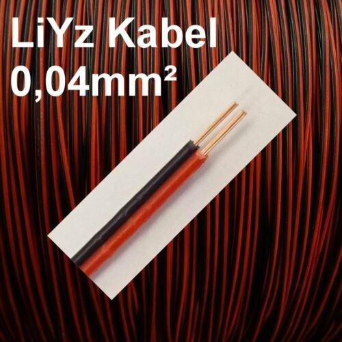 LiYz Kabel 0,04mm² Rot Schwarz Zwillingslitze 2-adrig blank 1m 10m 20m wählbar