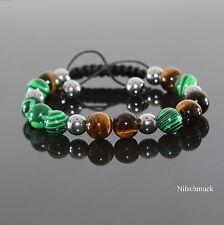 Herren Tiger Auge Mix Beads Shamballa Armband  mit Malachit Beads für Männer