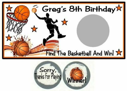 10 Basketball Birthday Party or Baby Shower Scratch Off Game Can Make ANY Team