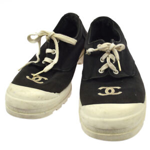 CHANEL-Vintage-CC-Logos-Sneakers-Shoes-Black-Canvas-38-NR12983k