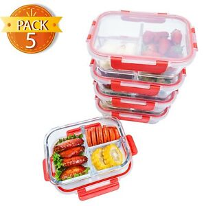 Premium-Glass-Meal-prep-Containers-3-compartments-leak-proof-lids-5-pack-1040ml