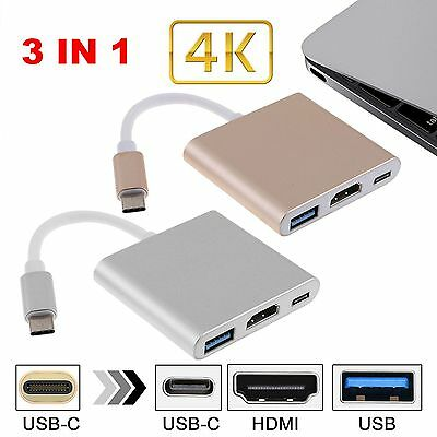 Type C USB 3.1 to USB-C 4K HDMI USB3.0 Adapter 3 in 1 Hub For Apple Macbook RC