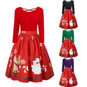 7f846a1d5f7678 Das Bild wird geladen XL-5XLDamen-Swing-Christmas-Dress-Partykleid-Vintage- Weihnachten-