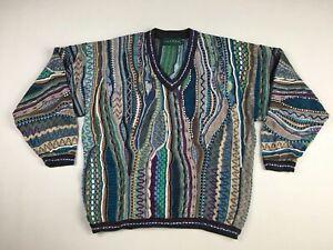 VTG-Men-039-s-Tundra-Canada-3D-Textured-Cotton-Multicolor-Sweater-Sz-L-Coogi-Style