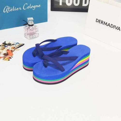 Summer Women Beach Sandals Shoes Slippers Wedge Platform Thong Flip Flops H
