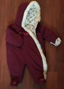 Baby & Toddler Clothing Koala Baby Hooded Bunting Snowsuit Dark Red W/floral & Faux Fur Trim Size 6-9m Clients First