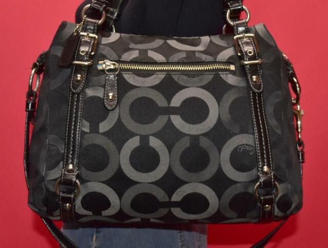 COACH ALEXANDRA Op-Art Black Jacquard Leather Crossbody Shoulder Purse Bag 15568