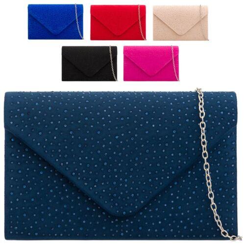 Ladies Rain Drop Gem Clutch Bag Faux Suede Prom Party Bag Handbag Purse KTL2152