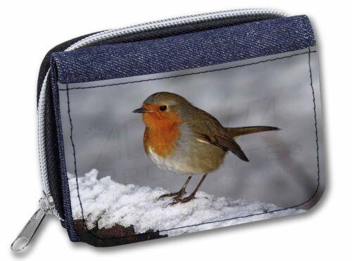 Robin on Snow Wall Girls//Ladies Denim Purse Wallet Christmas Gift Idea AB-R15JW