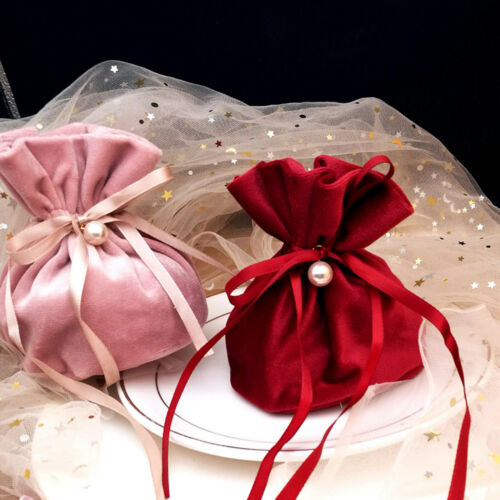 1-100pcs Flannel Candy Gift Bags Velvet Drawstring Jewelry Storage Bag Pouches