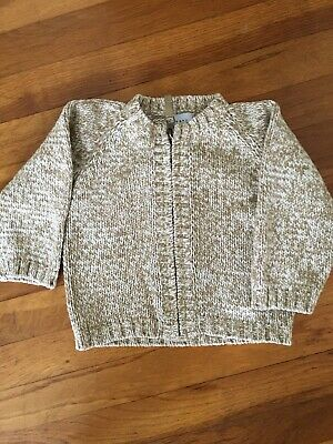 Baby Gap Cream/tan Toddler Unisex Sweater With Zipper- 18-24 Months