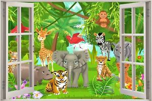 Huge-3D-Window-view-Fairy-Tale-Jungle-Animals-Wall-Sticker-Mural-Art-Decal-1166