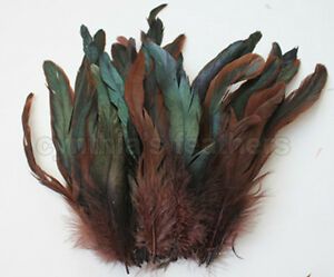 """NEW! 6-8/"""" half bronze yellow schlappen coque rooster feathers 100+ pcs. 16g"""