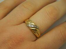18K carat Yellow Gold Diamond Ring Size R 5.3 grams