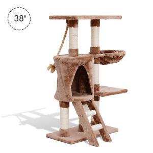 "PawHut 38"" Cat Activity Tree Tower Kitten Center Scratching Pet Furniture Brown"
