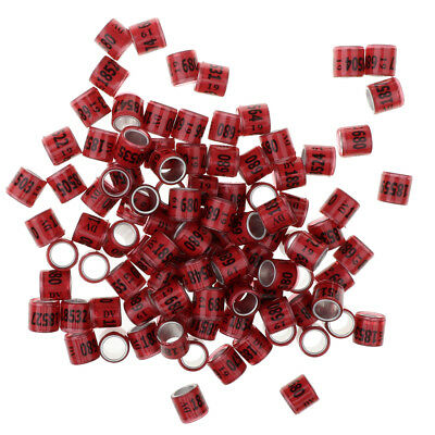 Easy to Use Pink 100 Pcs Racing Pigeon Leg Ring Tag Band w// Place /& Number