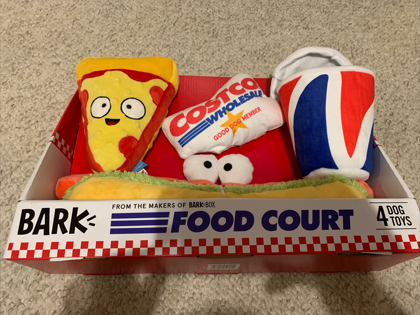 Bark Costco Food Court 4 Piece Dog Toy Set 1454226 Brand Rare Ships Fast For Sale Online Ebay