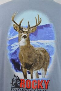 Rocky-Outdoor-Large-Deer-Long-Sleeve-Blue-Men-039-s-SHIRT